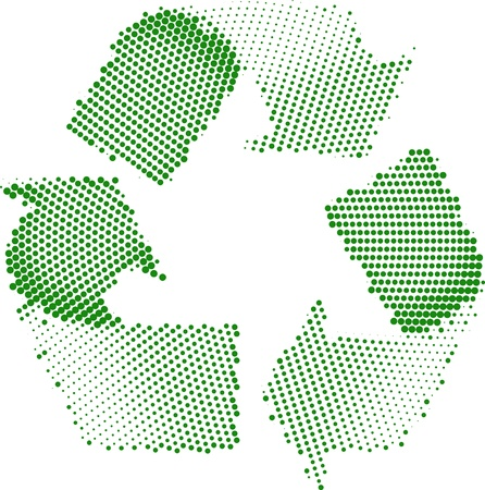 colourfull: A Colourfull Green Halftone Recycle Symbol Illustration