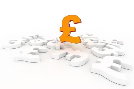 british money: A Colourful 3d Rendered Pound Success Concept Illustration
