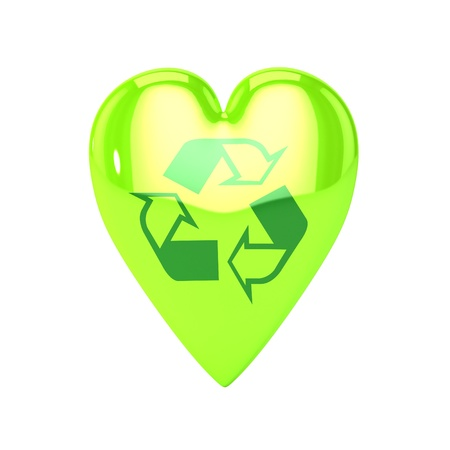 eco sensitive: A Colourful 3d Rendered Love Recycling Heart Illustration
