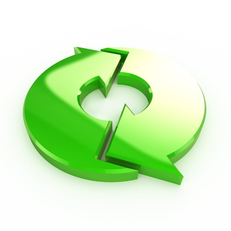 circular flow: A Colourful 3d Rendered Green Process Arrow Illustration Stock Photo