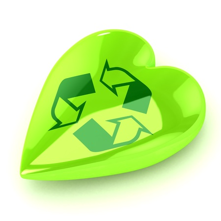environmentally: A Colourful 3d Rendered Recycle Heart Illustration Stock Photo