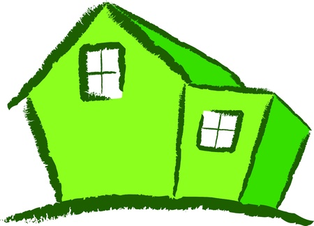 A Colourful Vector Green House with an Extension Vector