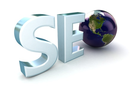 3d illustration of text 'SEO' with earth globe, search engine optimization symbol  illustration