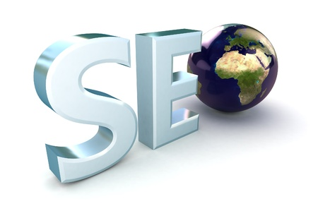 surfing the net: 3d illustration of text SEO with earth globe, search engine optimization symbol