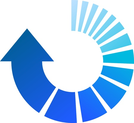 A Colourful Blue Arrow Illustrazione Vettoriale circolare