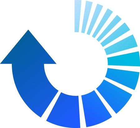 the arrow: Una colorida ilustraci�n vectorial Blue Arrow Circular