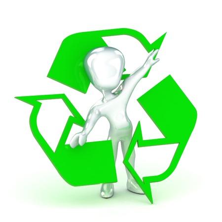 reciclable: Una colorida 3d Dictada hombre de reciclaje Ilustración Concepto
