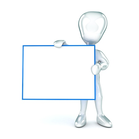 A Colourful 3d Rendered Man Holding a Blank Sign for you to put your information onto. photo