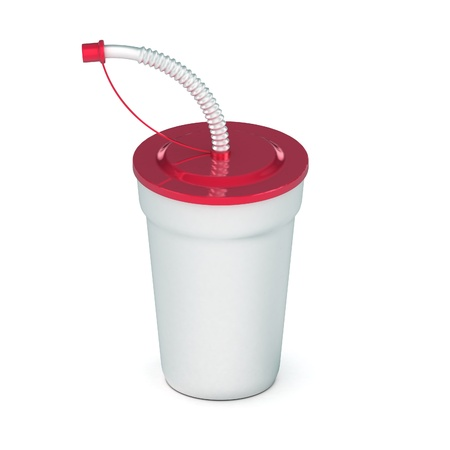 A Colourful 3d Rendered Soda drink with Straw photo