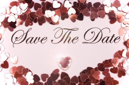 date: A Romantic photo of a Save the Date Invitation