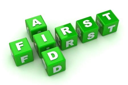 botiquin de primeros auxilios: Un 3d colorido rindió Crossword Primeros Auxilios Ilustración Concepto Foto de archivo