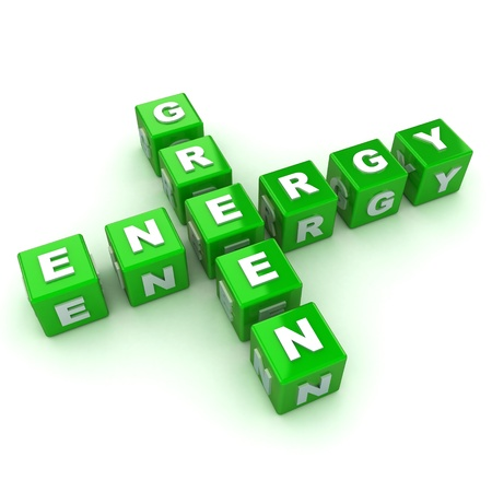 energy conservation: A Colourful 3d Rendered Green Energy Crossword Concept Illustration