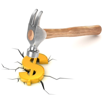 business concern: A Colourful 3d Rendered Dollar Debt Concept Illustration