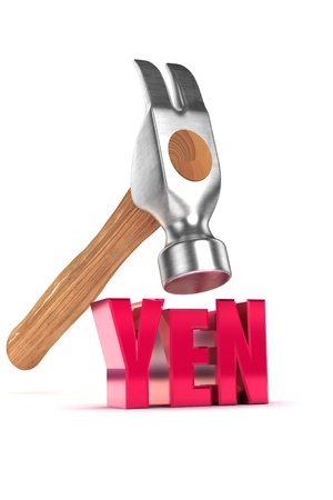 yen: A Colourful 3d Rendered Yen Debt Concept Illustration Stock Photo