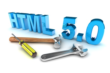 html 5: A Colourful 3d Rendered HTML 5 Tools Concept Illustration Stock Photo