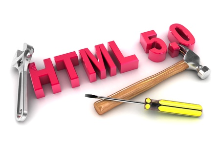 A Colourful 3d Rendered HTML 5 Tools Concept Illustration illustration