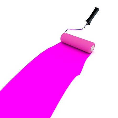 redecorate: A Colourful 3d Rendered Purple Paint Roller Stock Photo