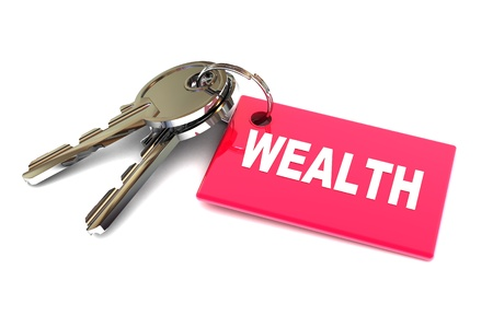 gain access: A Colourful 3d Rendered Keys to Wealth Concept Illustration