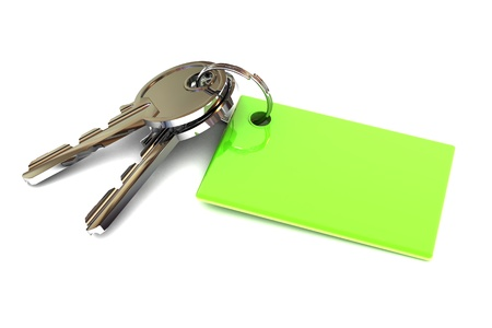 A Colourful 3d Rendered Keys with a Blank Green Keyring Stok Fotoğraf - 20364423