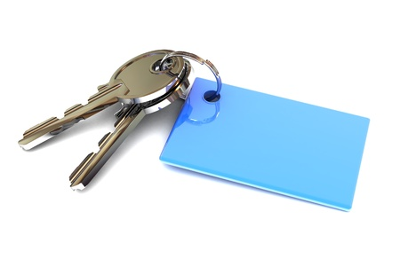 A Colourful 3d Rendered Keys with a Blank Blue Keyring