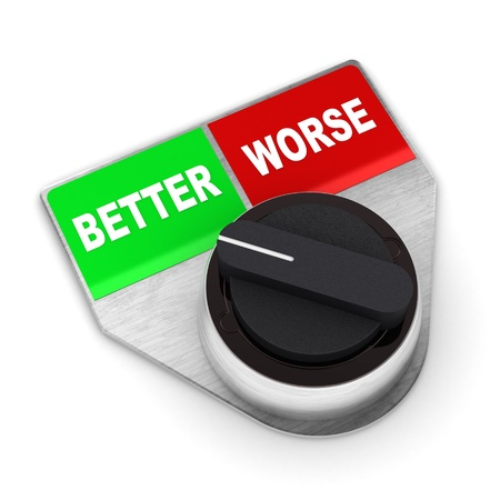 worse: A Colourful 3d Rendered Better Vs Worse Concept Switch Stock Photo