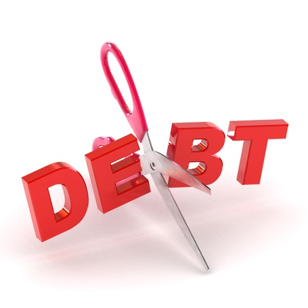 snip: A Colourful 3d Rendered Cutting Debt Concept Illustration