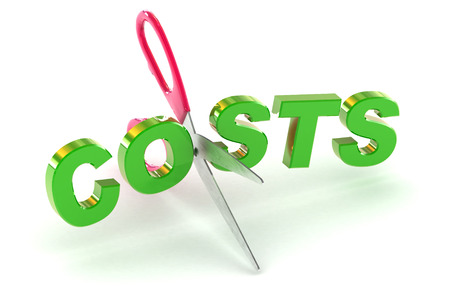cutting costs: A Colourful 3d Rendered Cutting Costs Concept Illustration Stock Photo