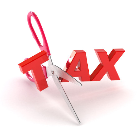 A Colourful 3d Rendered Cutting Tax Concept Illustration
