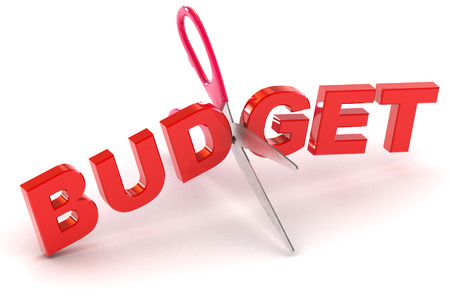 budgets: A Colourful 3d Rendered Cutting Budgets Concept Illustration