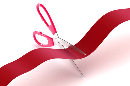A Colourful 3d Rendered Illustration of scissors cutting a red tape