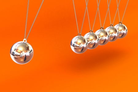 A Colourful 3d Rendered Newtons Cradle Illustration against an orange background