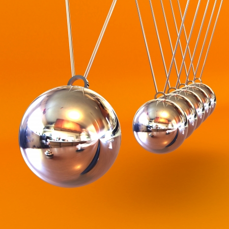 A Colourful 3d Rendered Newtons Cradle Illustration against a Orange Background Stock Photo