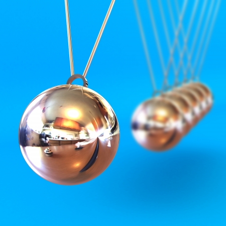 A Colourful 3d Rendered Newtons Cradle Illustration against a Blue Background illustration