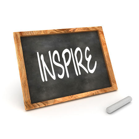 A Colourful 3d Rendered Concept Illustration showing  Inspire  writen on a Blackboard with white chalk illustration