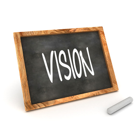 foresight: A Colourful 3d Rendered Concept Illustration showing the work  Vision  writen on a blackboard in white chalk