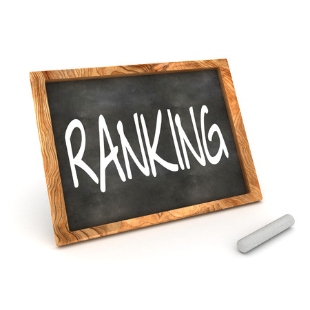 A Colourful 3d Rendered Concept Illustration showing  RANKING  writen on a Blackboard with white chalk