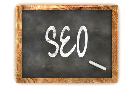 A Colourful 3d Rendered Concept Illustration showing  SEO  writen on a Blackboard with white chalk
