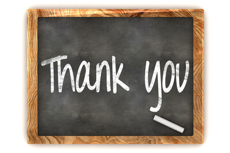 A Colourful 3d Rendered Concept Illustration showing Thank You writen on a Blackboard with white chalk illustration
