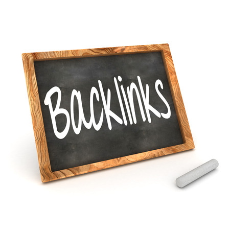 backlinks: A Colourful 3d Rendered Concept Illustration showing Backlinks writen on a Blackboard with white chalk Stock Photo