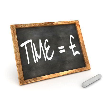 sign equals: A Colourful 3d Rendered Blackboard Concept of Time = Money Pound