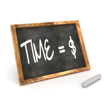 sign equals: A Colourful 3d Rendered Blackboard Concept of Time = Money Dollar Stock Photo