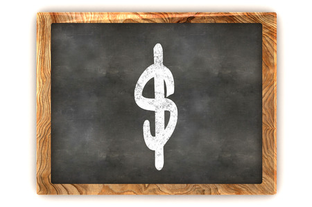 A Colourful 3d Rendered Illustration of a Blackboard showing a Dollar Sign illustration