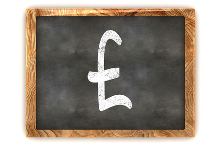 sign equals: A Colourful 3d Rendered Illustration of a Blackboard showing a Pound Sign Stock Photo