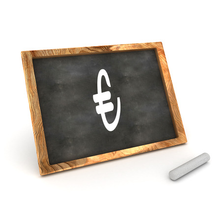 sign equals: A Colourful 3d Rendered Illustration of a Blackboard showing a Euro Sign