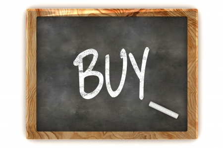 A Colourful 3d Rendered Illustration of a Blackboard Showing Buy  illustration