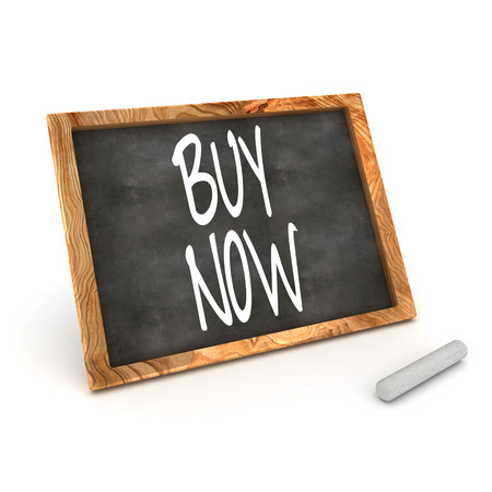 A Colourful 3d Rendered Illustration of a Blackboard Showing Buy Now illustration