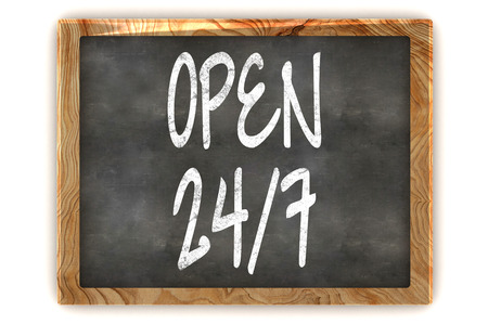 shop opening hours: A Colourful 3d Rendered Illustration of a Blackboard Showing Open 247