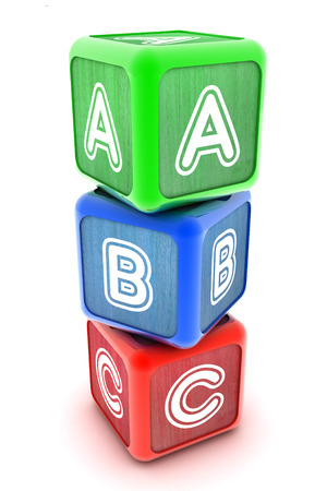 A Colourful 3d Rendered Illustration of ABC Building Blocks illustration
