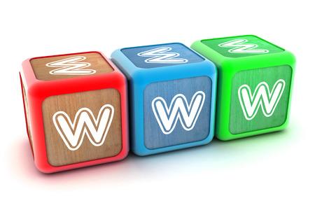 A Colourful 3d Rendered Illustration of Internet WWW Building Blocks illustration