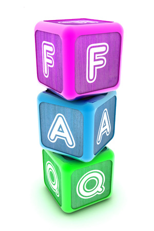 A Colourful 3d Rendered Illustration of FAQ Building Blocks illustration